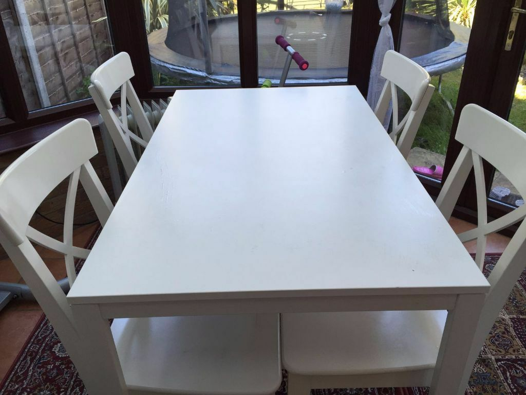 white ikea bjursta dining table with 4 ingolf chairs in hillingdon london gumtree. Black Bedroom Furniture Sets. Home Design Ideas