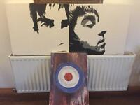 Canvas Gallagher brothers and Mod sign hand painted on canvas