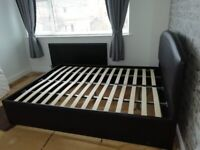 double brown faux leather bed frame