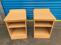 SET OF BEECH WOOD BEDSIDE TABLES