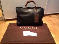 Gucci Bamboo Shopper large textured leather tote