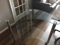 Clear glass desk