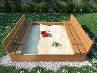 High Quality Square Wooden Sand Pit 120 cm X 120 cm, Well made Sandpit + WOODEN LID and SEATS