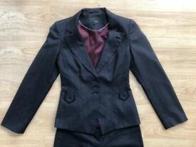 Next Ladies Suit Size 6-8 Jacket Trousers Charcoal Grey Good Condition