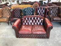 Stunning oxblood leather chesterfield 2 seater sofa UK delivery