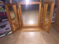 triple pine dressing table mirror