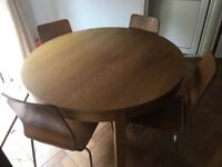 Ikea wooden extendable dining table with 4 chairs