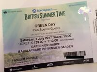 2x Green Day British Summertime Festival VIP tickets - Hyde Park 1/07/17