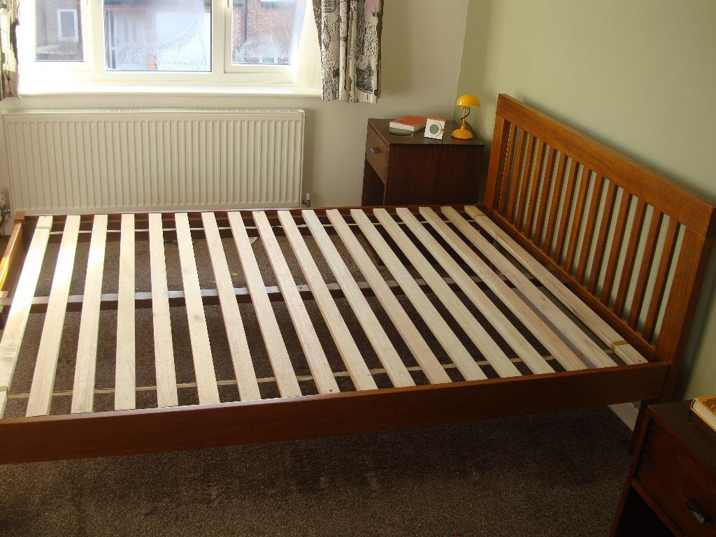 beautiful solid wood muji double bed frame no mattress couple of