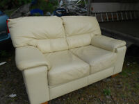 three and two seater cream sofa