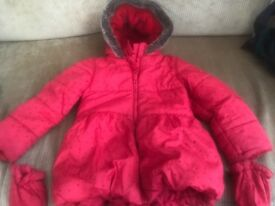 M&S red coat with heart detail, fur hood and attached mittens