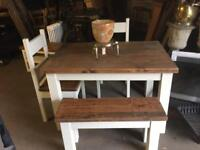 Table 2 chairs and bench, painted waxed reclaimed timber