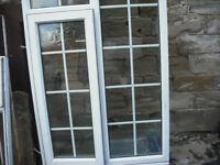 """UPVC glazed window frame with internal Georgian Bar 64"""" H x 41"""" W side opener"""