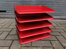 Vintage metal paper tray (red)