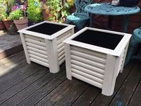 Pair of Colorful Square Garden Trough flower or vegetable Planters on feet - Hand made from wood