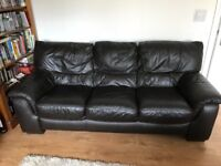 Brown leather 3 seater sofa (DFS)