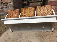Shabby chic style coat hangers with handy baskets for storage excellent condition BARGAIN