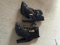 Leather Peep Toe High Heel Ankle Boots
