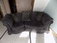 4-Seater Black/Charcoal Settee