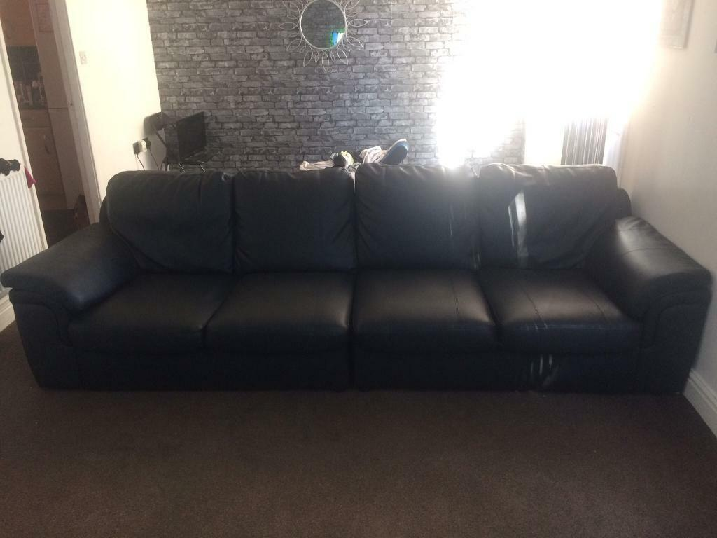 Astounding 4 Seater Black Leather Sofa In Beighton South Yorkshire Gumtree Machost Co Dining Chair Design Ideas Machostcouk