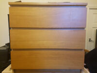 IKEA Chest of 3 drawers MALM Oak veneer in very good condition