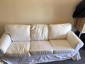 3 seater White ikea sofa
