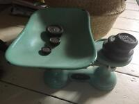 Vintage French enamel scales with weights kitchenalia