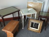 FREE STUFF: FREE Job Lot tables stool picture frame & firescreen Shabby