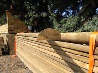 Timber half round fence rail 100mmx3.6m