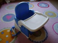 Lindam highchair booster seat to attach to dining chair with removable tray
