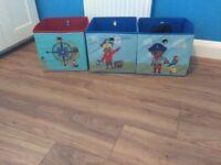3 x canvas storage boxes