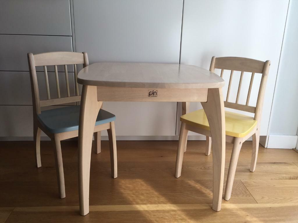 Pintoy Junior Wooden Whitewashed Pine Children Table & 2 Chairs | in ...