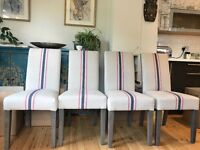 4 Fully Upholstered Dining Chairs