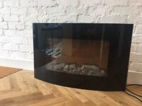 Electric Black Glass Curved Wall Mounted Fire