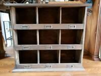 Antique post box shelf storage unit.