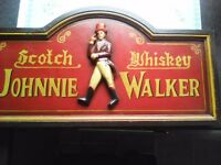 "Johnnie walker wooden bar sign 23""/12"" collectable piece"