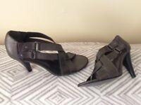 M&S Autograph Dark Metallic Strappy Shoes Size 5.5