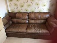 Free brown Leather sofa needs collecting today