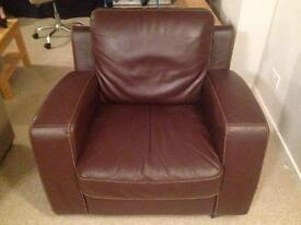 Brown Faux Leather Armchair - Great Condition - Large
