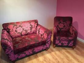 Matching love seat sofa and armchair