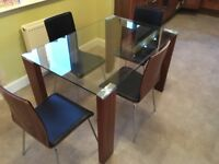 Dining Table Walnut & Glass rrp £450