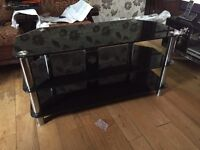 Black glass stand for large television and set top boxes/DVD player