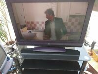 "37"" Television with Remote and Glass Stand"