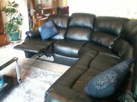 nearly NEW Black Leather Reclining Corner Sofa