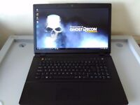 """GAMING CLEVO 17,3"""" FHD - INTEL CORE i7 - DEDICATED NVIDIA - SSHD - 16 GB - WARRANTY - UK DELIVERY"""