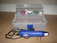 Docrafts Heat It Up! Blue Heat Tool, Storage Box & Embossing Powders
