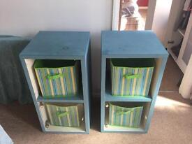 2x storage cabinets with glass doors