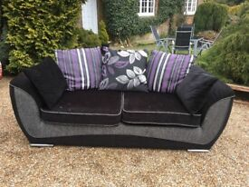 DFS 3 Seater Black Sofa with Chrome Feet