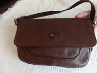 'Bridge' dark brown, small leather flapover handbag - used once!