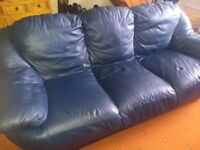 Blue leather sofas, FREE